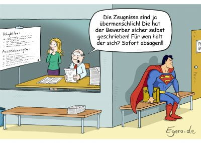 PSRM Cartoon Superman Arbeitszeugnis